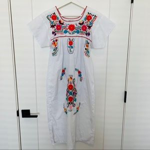 Traditional white embroidered Mexican Dress